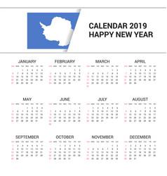 Calendar 2019 antarctica flag background english vector