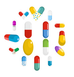 capsule pill medicine icons set flat style vector image