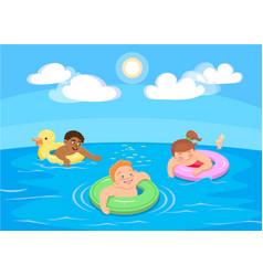 Cartoon children swim in the sea vector