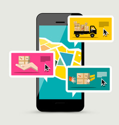 cellphone with delivery service app of parcels vector image