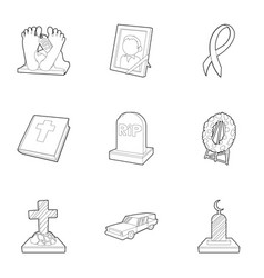Cemetery icons set outline style vector