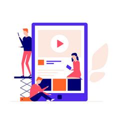 children studying online - flat design style vector image