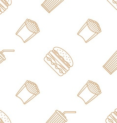 Cola hamburger french fries outline seamless vector