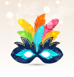 Colorful carnival or theater mask with feathers vector