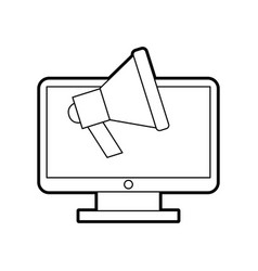 Computer desktop with megaphone vector
