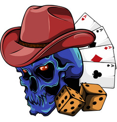 cowboy skull with poker ace and dice vector image
