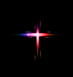 Cross light shiny colorful laser cross symbol vector