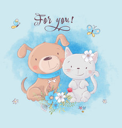 cute cartoon cat and dog with flowers postcard vector image
