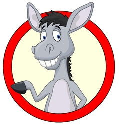 Cute donkey cartoon waving hand vector