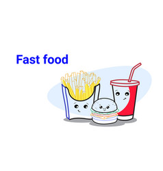 cute hamburger french fries and soda fast food set vector image