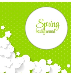 Cute Spring Background with Paper Flowers vector image