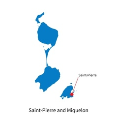Detailed map of Saint-Pierre and Miquelon and vector