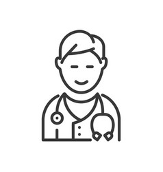 Doctor - line design single isolated icon vector
