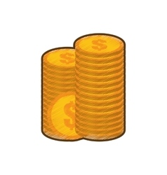 Drawing coins stack money golden vector