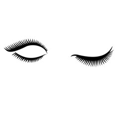 Eye lashes icon lashes open and close vector