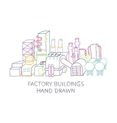 Factory buildings hand drawn sketched vector