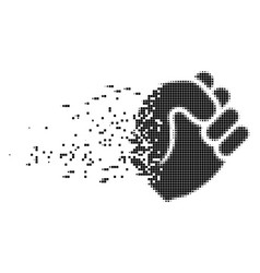 Fist decomposed pixel icon vector