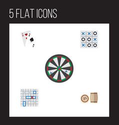 Flat icon entertainment set of lottery xo ace vector