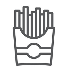 french fries line icon snack and food potato vector image