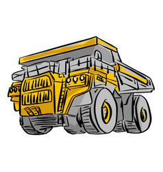 Front view of big yellow mining truck vector
