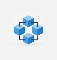 Geometric block chain technology blue icon vector