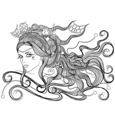 Girl with hairdress sweets vector