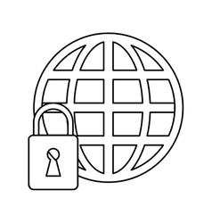 Global connection lock security system technology vector