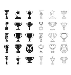 gold cup blackoutline icons in set collection for vector image