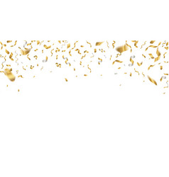 golden celebration confetti falling party ribbons vector image
