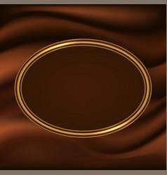 Golden frame border on chocolate wavy background vector