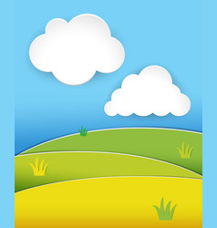 Green hills at daytime with blue sky vector