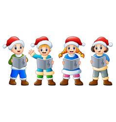 group of kids in santa cost vector image