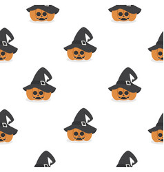 halloween pumpkin wearing witch hat pattern vector image