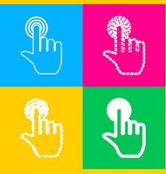 hand click on button four styles of icon on four vector image