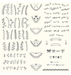 Hand drawn vintage floral elements handsketched vector