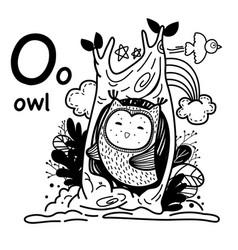 Hand drawnalphabet letter o-owl vector