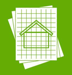house blueprint icon green vector image
