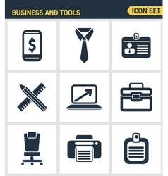 Icons set premium quality of basic business vector image