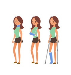 Injured woman in plaster cast cartoon vector