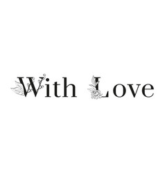 inscription with love with floral pattern on white vector image