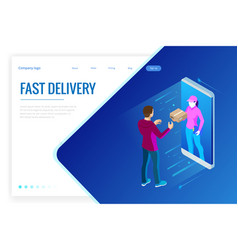 isometric fast delivery service online delivery vector image