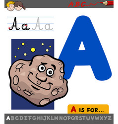 letter a with cartoon asteroid vector image