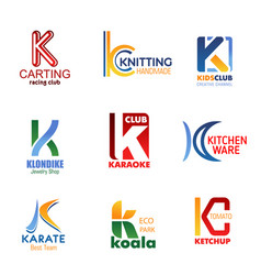 Letter k for company and business identity vector