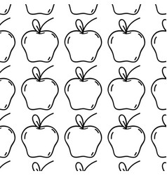 Line fresh apple fruit and organ food background vector