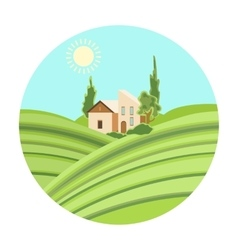 Lodge with vineyards icon in cartoon style vector