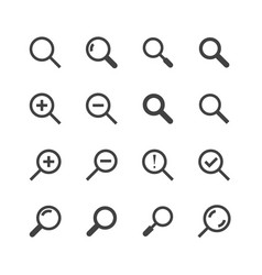 magnifying glass flat glyph icons search zoom in vector image