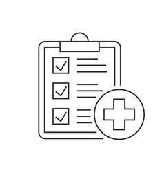 medical report line icon on white background vector image