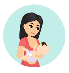 mom feeding her baby vector image