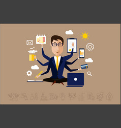 multitasking businessman with many hands time vector image