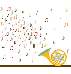 Musical concept french horn with notes flat vector